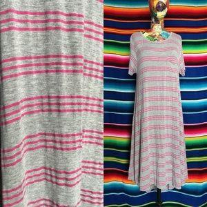 LuLaRoe Striped Pocket Tee Midi Hi Lo Dress